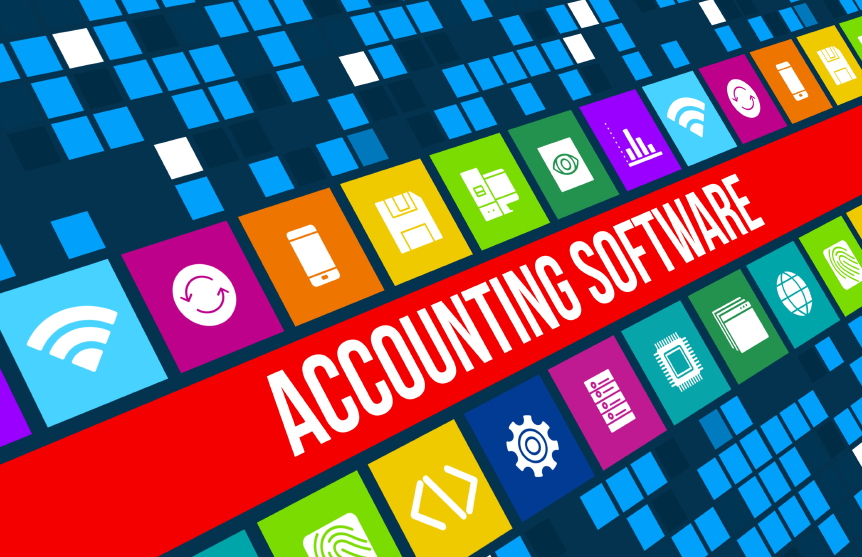 Accounting software concept image with technology icons and copyspace